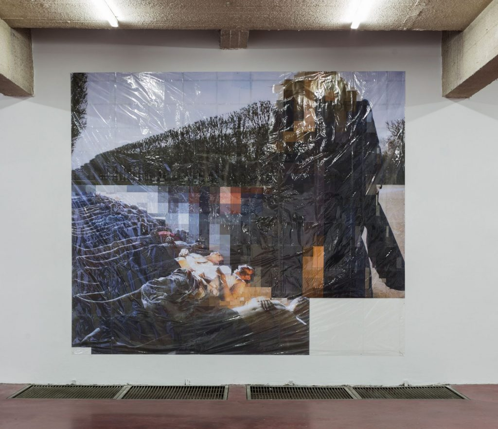 Thomas Hirschhorn, Pixel-Collage nº32, 2016, Prints, tape, transparent sheet, 336x396cm, unique
