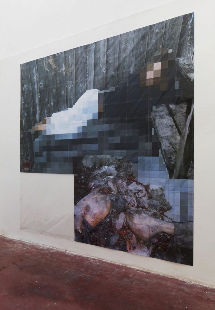 Thomas Hirschhorn, Pixel-Collage nº34, 2016, Prints, tape, transparent sheet, 336x364cm, unique