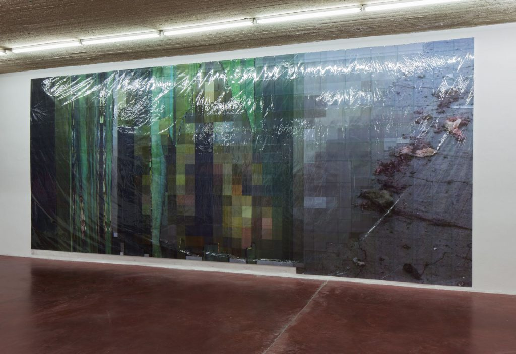 Thomas Hirschhorn, Pixel-Collage nº38, 2016, Prints, tape, transparent sheet, 367x850cm, unique