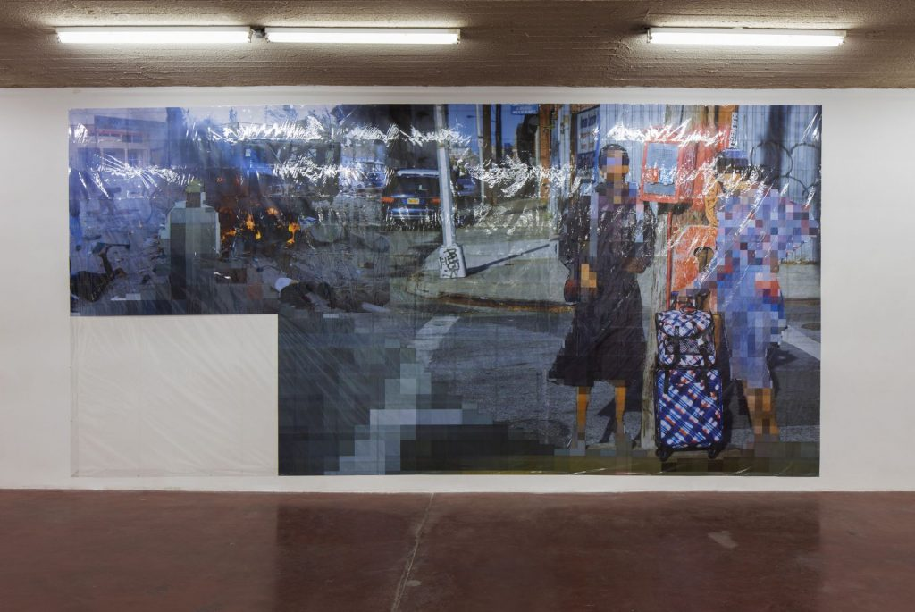 Thomas Hirschhorn, Pixel-Collage nº42, 2016, Prints, tape, transparent sheet, 362x730cm, unique