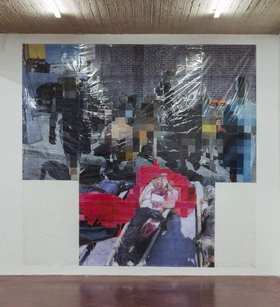 Thomas Hirschhorn, Pixel-Collage nº44, 2016, Prints, tape, transparent sheet, 360x380cm, unique