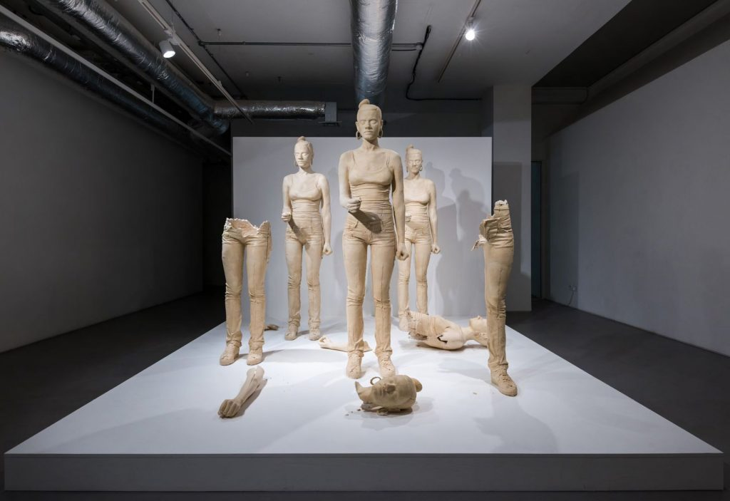 Simon Fujiwara, Rebekkah, 2012, Terracotta-coloured plaster figure, mixed media installation. Video (14:18 min), variable dimensions