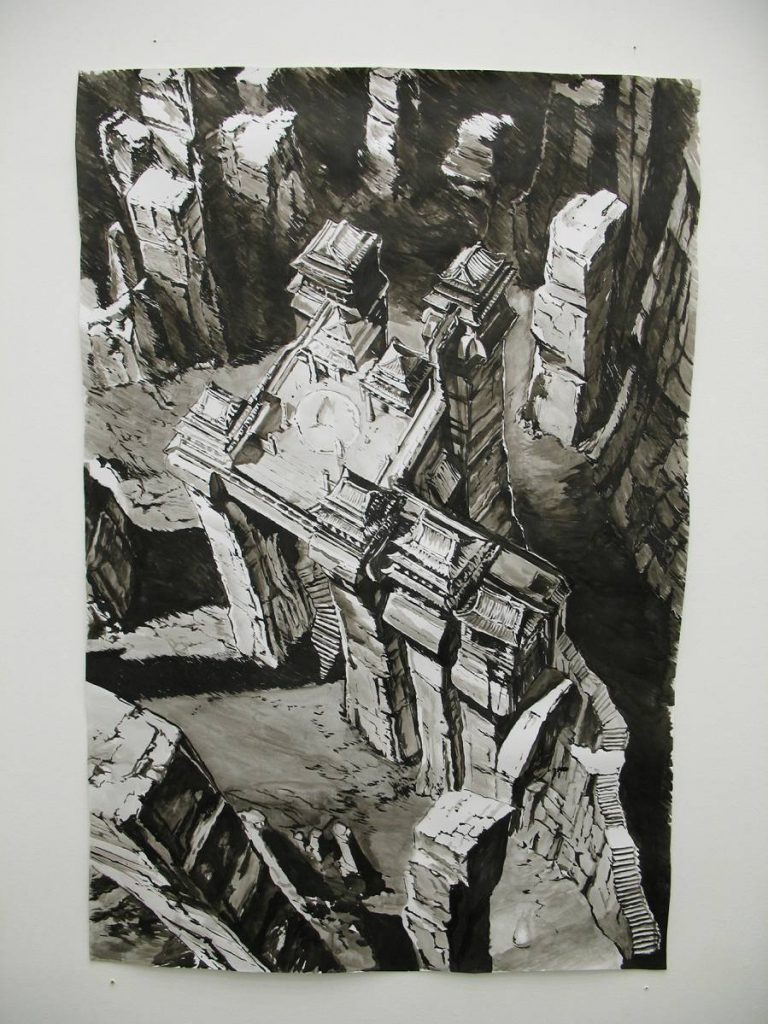 Karen Russo, Untitled, 2006,  Indian ink on Fabriano paper, 130x90cm