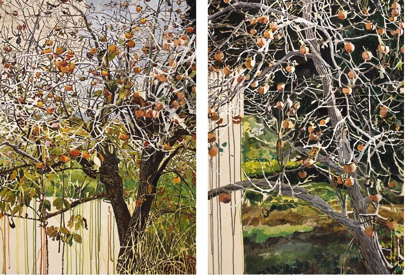 Vered Nachmani, Persimmon in Spring 1 (Left), Persimmon in Spring 2 (Right), 2007-2008, acrylic on canvas, 120 x 80 cm, unique