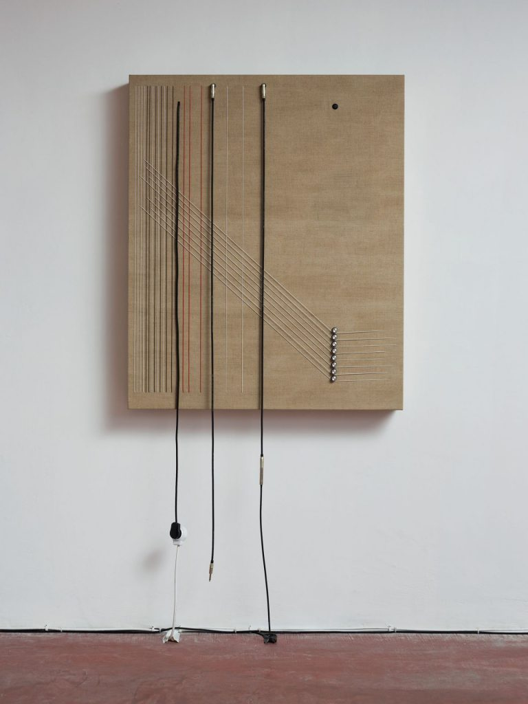 Naama Tsabar, Transition, 2016, Wood, canvas, electronics, cables, knobs, speakers, 117x96.5x14 cm, Unique