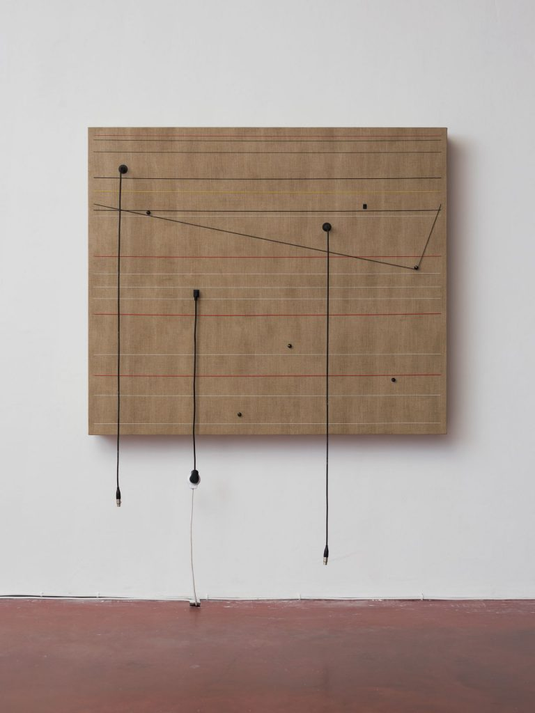 Naama Tsabar, Transition, 2016, Wood, canvas, electronics, cables, knobs, speakers, 131x153.5x16.5 cm, Unique