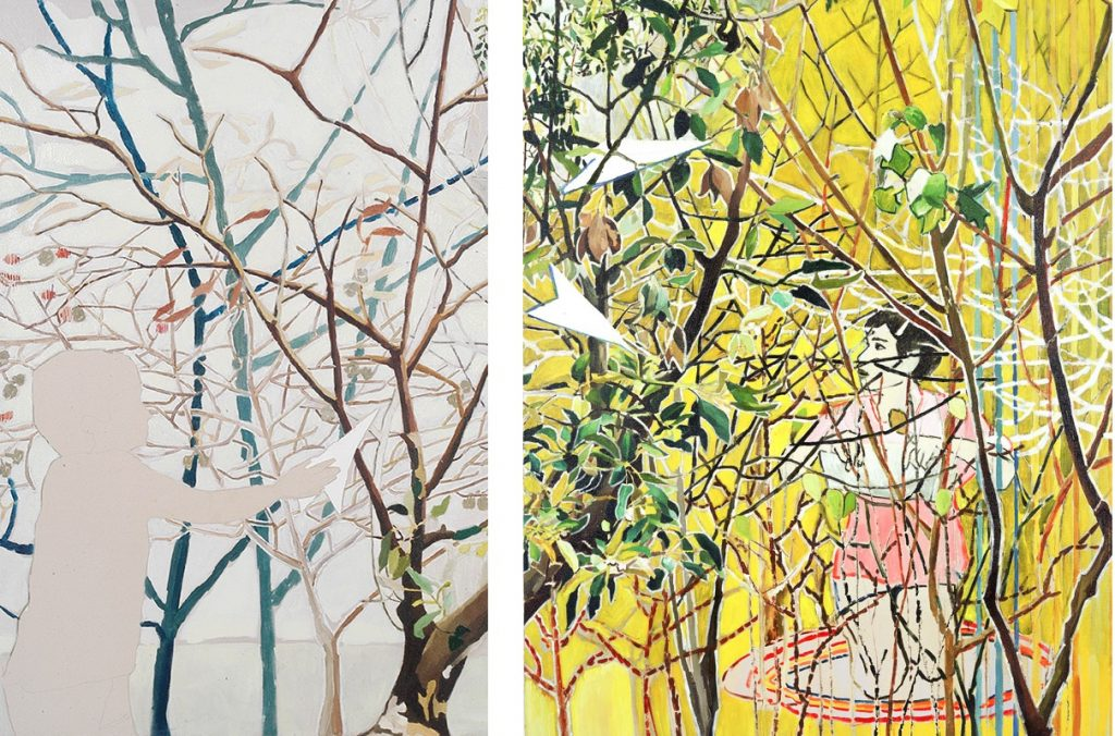 Vered Nachmani, Big entanglement 2, 2006, oil on canvas, 80x120cm (Left), Big entanglement 1, 2006, oil on canvas, 120x90 cm (Right)
