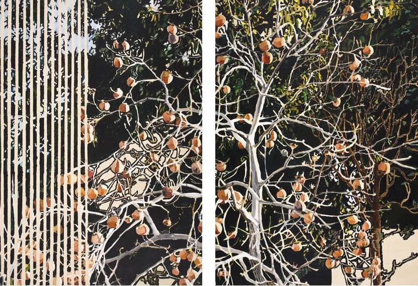 Vered Nachmani, Persimmon in Fall 4 (Left) Persimmon in Fall 3 (Right), 2007-2008, acrylic on canvas, 120 x 80 cm, unique