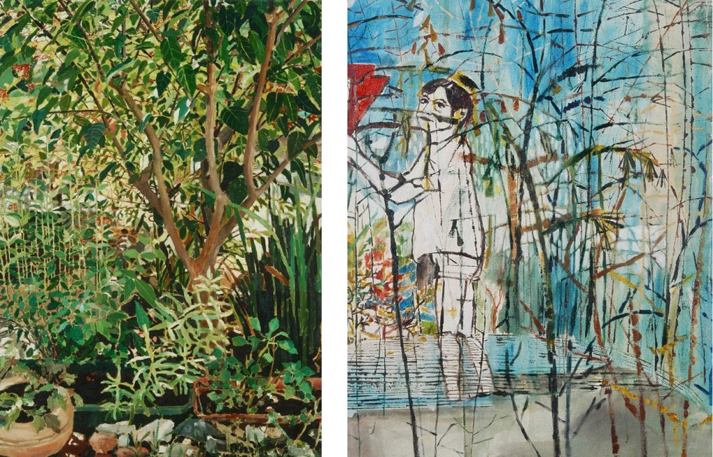 Vered Nachmani, Small entanglement 2, 2006, oil on canvas, 85 x 60 cm (Left), unique Nowhere, 2005-2006, oil on canvas, 85 x 65cm (Right), unique