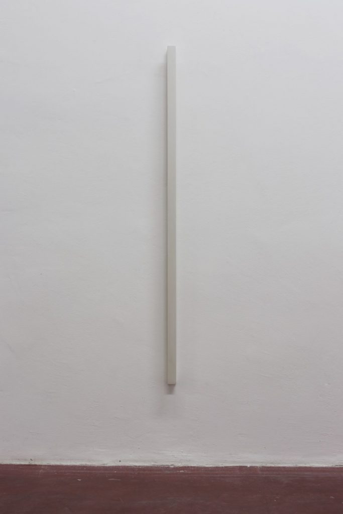 Florian Pumhosl, Plaster Object #7 (Formed speech), 2016, sealer on plaster, 159 x 6 x 4 cm, unique