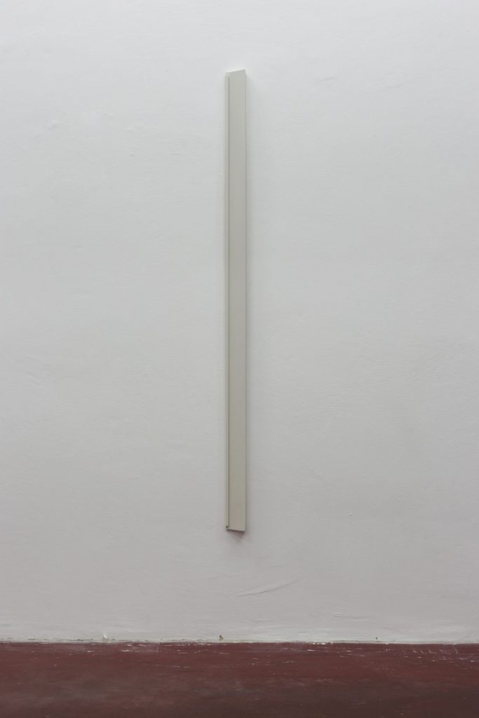 Florian Pumhosl, Plaster Object #5 (Formed speech), 2016, sealer on plaster, 159 x 6 x 4 cm, unique