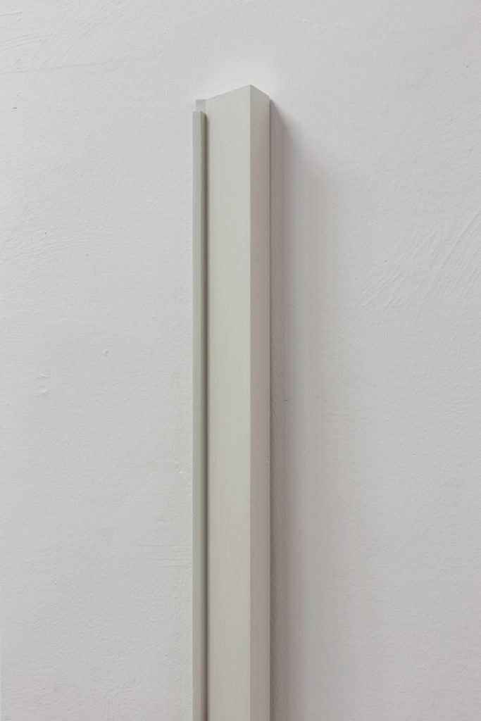 Florian Pumhosl, Plaster Object #5 (Formed speech), (detail), 2016, sealer on plaster, 159 x 6 x 4 cm, unique