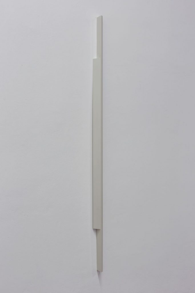 Florian Pumhosl, Plaster Object #2 (Formed speech), 2016, sealer on plaster, 159 x 6 x 4.5 cm, unique