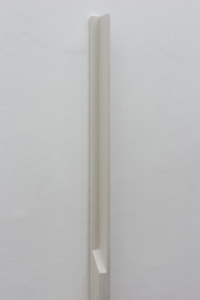 Florian Pumhosl, Plaster Object #6 (Formed speech), 2016, sealer on plaster, 159 x 6 x 4 cm, unique