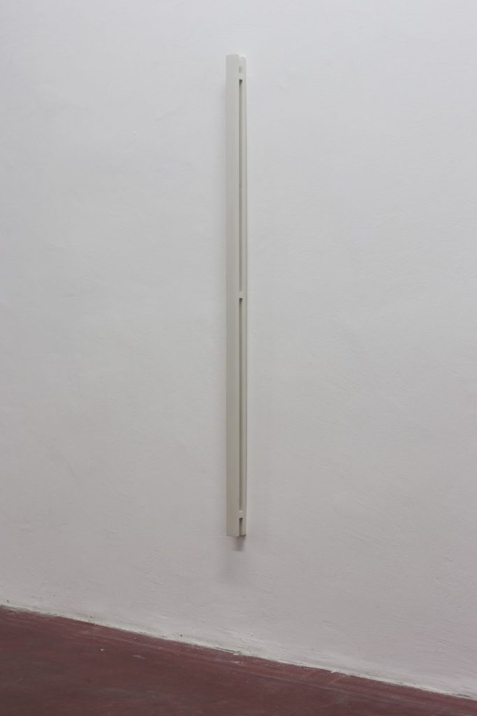 Florian Pumhosl, Plaster Object #7 (Formed speech), (detail), 2016, sealer on plaster, 159 x 6 x 4 cm, unique