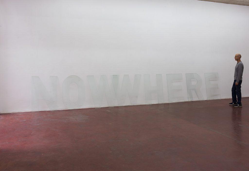 Melik Ohanian, NOWWHERE, 2016, glass letters, 110 x 725 cm, unique