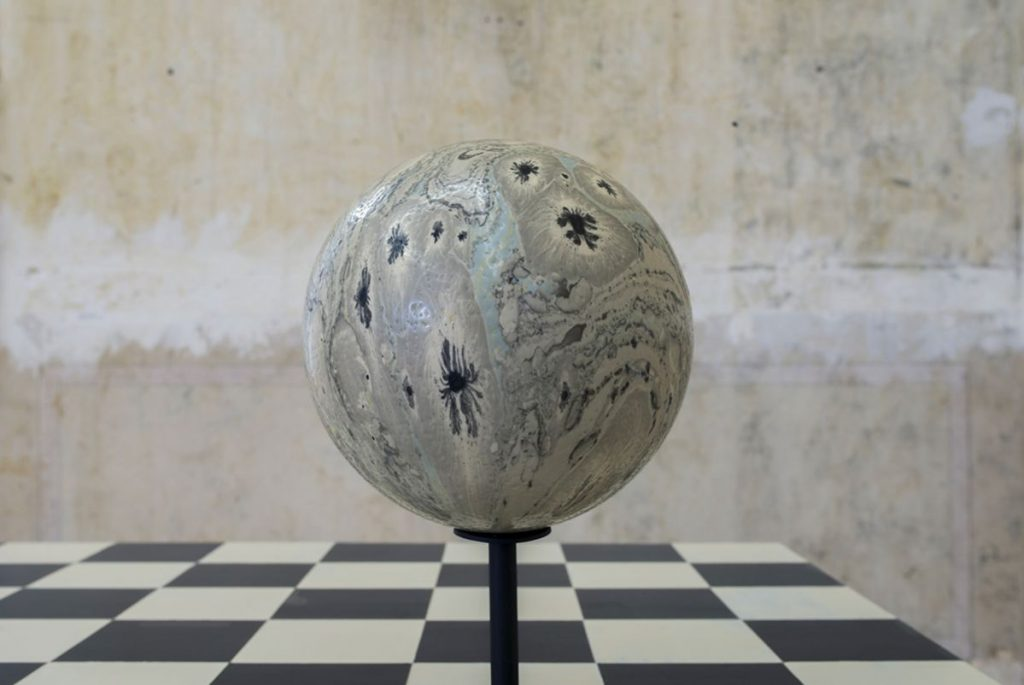 MONSTER VIII, Ink on ostrich egg, 2016, by Sarah Ortmeyer & Kerstin Brätsch