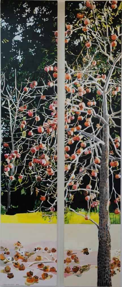 Vered Nachmani, Persimmon Tree, 2010, 2 parts, acrylic on canvas, 240x48 cm each part