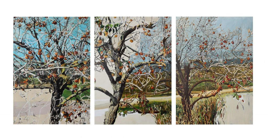 Vered Nachmani, Persimmon grove, 2009, Tryptich, oil on canvas, 120 x 85 cm each panel, unique