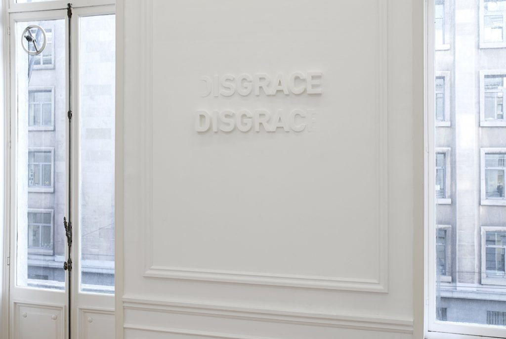 Melik Ohanian, Deviation (01) — Disgrace, 2014, Letters in polystyrene and plaster, 60 x 120 cm, edition of 3