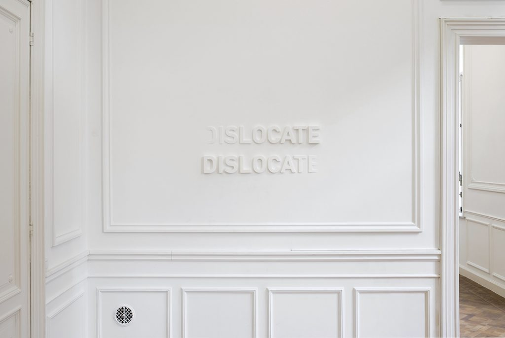 Melik Ohanian, Deviation (03) — Dislocate, 2014, letters in polystyrene and plaster, 60 x 120 cm, edition of 3