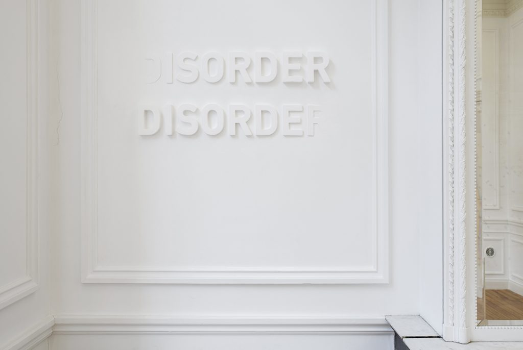Melik Ohanian, Deviation (04) — Disorder, 2014, letters in polystyrene and plaster,  60 x 120 cm, edition of 3