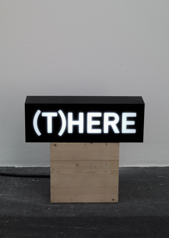 Melik Ohanian, Word(s) — Serie II, (T)HERE, 2014, animated lightbox with LED, 17 x 50 x 12.5 cm, unique + 1AP