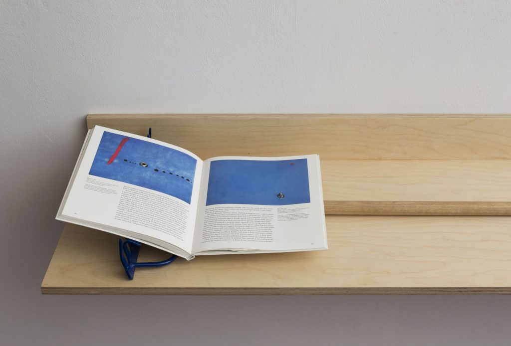 Barak Ravitz, Blue II, Blue III, 2016, Miro-Taschen publisher, metal rings, rake, plywood shelf, 13 x 38 x 167 cm, unique
