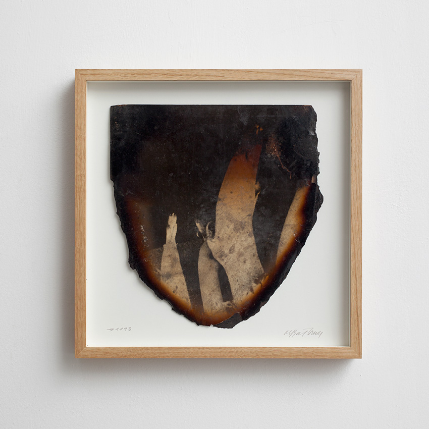 Miroslaw Balka, Legs Probably, 1993, burnt photograph, 38 x 38 cm, unique