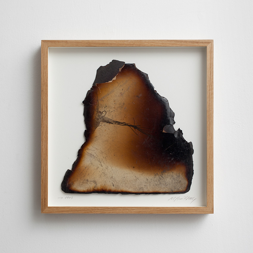 Miroslaw Balka, Sculpture/process, 1993, burnt photograph, 38x38 cm, Unique