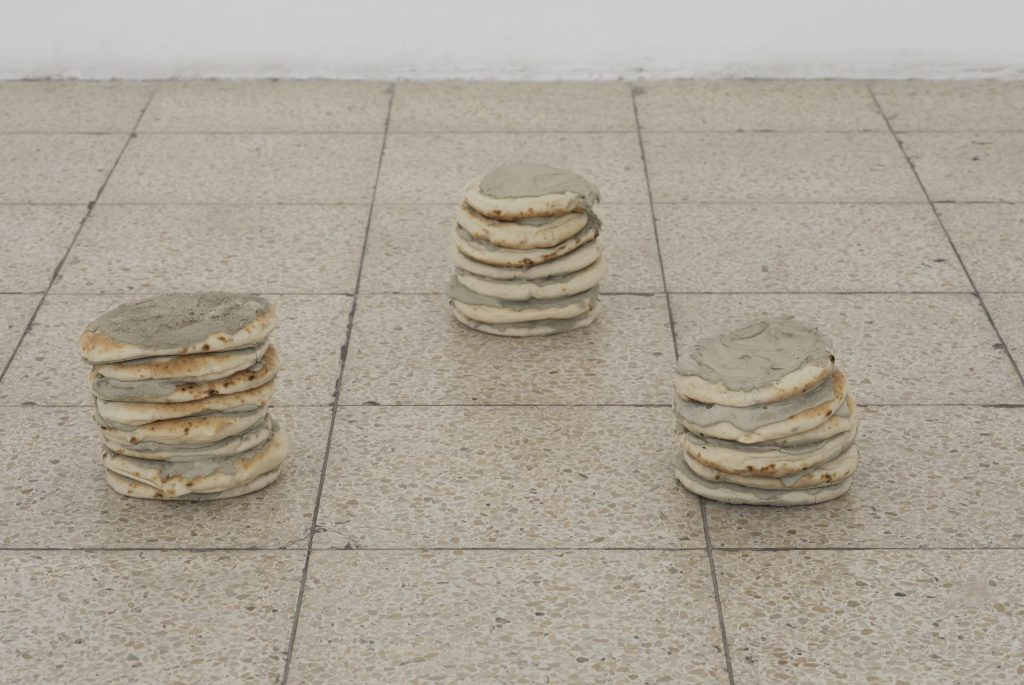Latifa Echakhch, Untitled, 2017, pita, cement, variable dimensions, Unique
