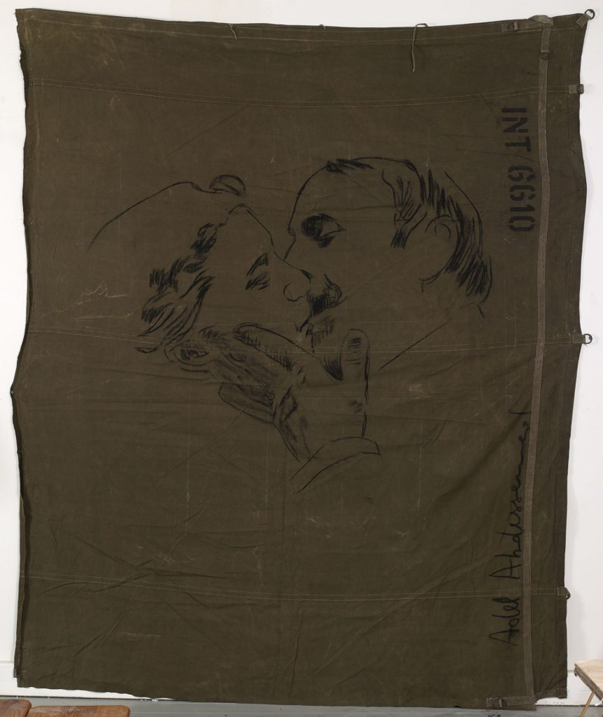 Adel Abdessemed, From Here to Eternity, 2015, Black chalk on military tarpaulin 270 x 221 cm, unique