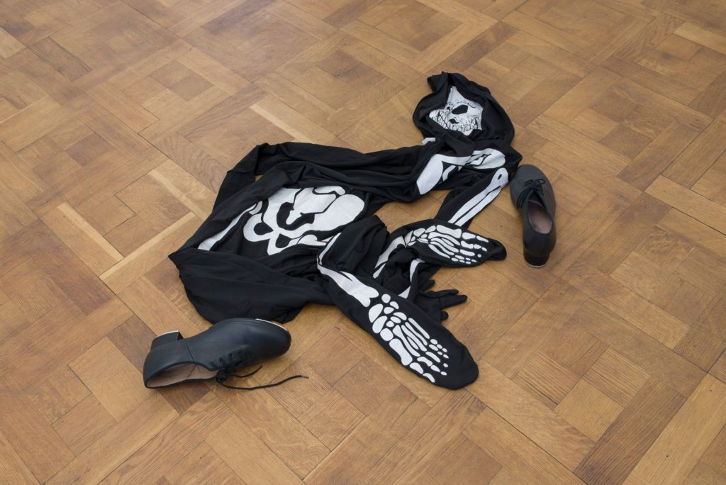 Latifa Echakhch, Untitled (Dancer), 2013, Skeleton costume, tap shoes, variable dimensions, Unique