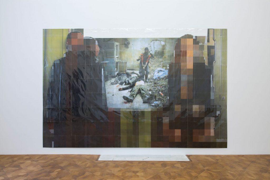 Thomas Hirschhorn, Pixel-Collage n°75, 2016, Prints, tape, transparent sheet, 234x364cm, Unique