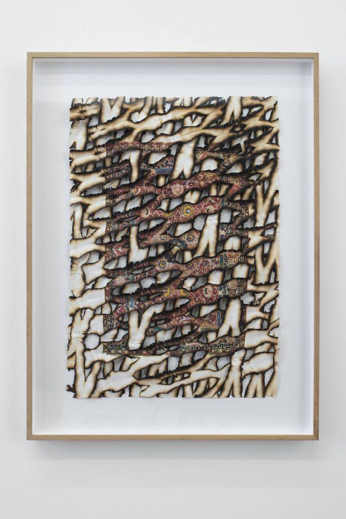 Ariel Schlesinger, Untitled (burnt paper), 2017, archival print, Japanese paper, gesso, 80 x 106 x 7 cm, unique