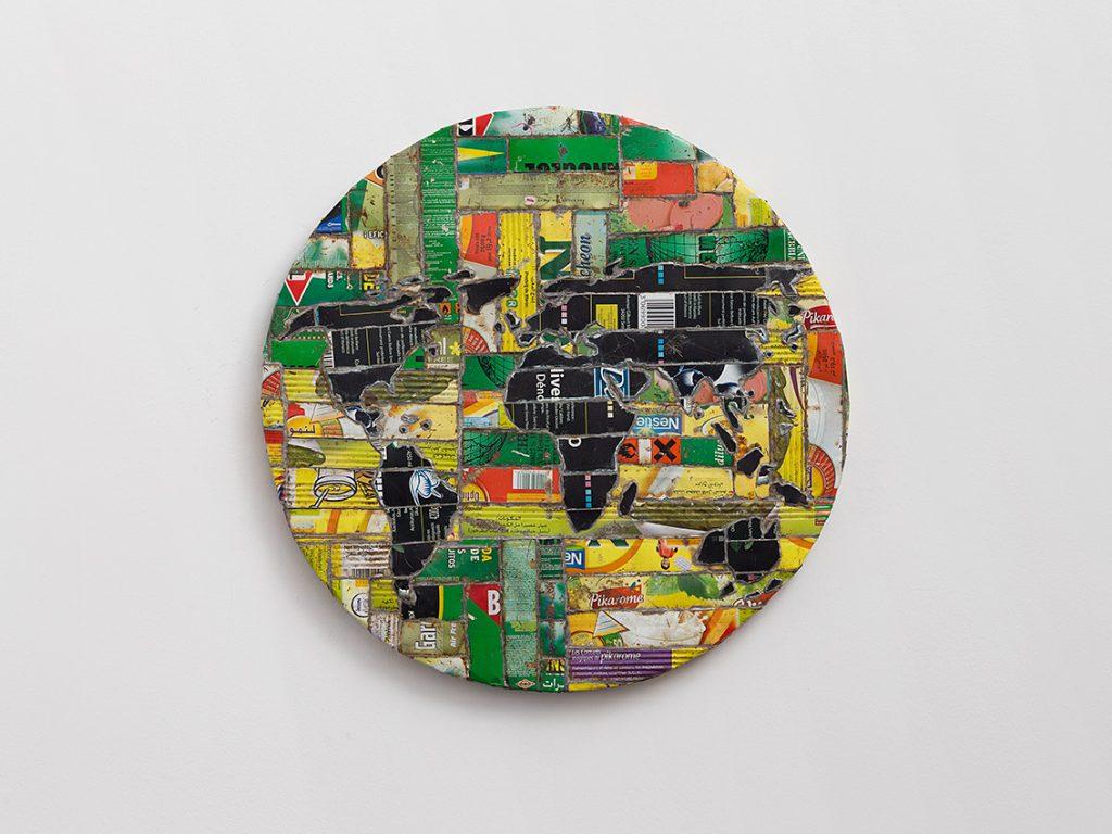 Adel Abdessemed, Mappemonde, 2010, printed steel, Diameter 60,5 cm, Depth 3,5 cm, unique