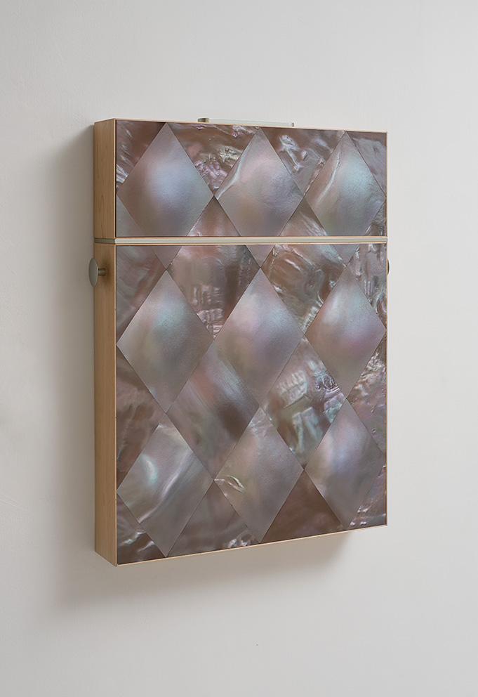 Adi Fluman, Untitled (Cigarette Case), 2017, inkjet print on paper, maple wood, aluminum, 74 x 91 x 12 cm, unique
