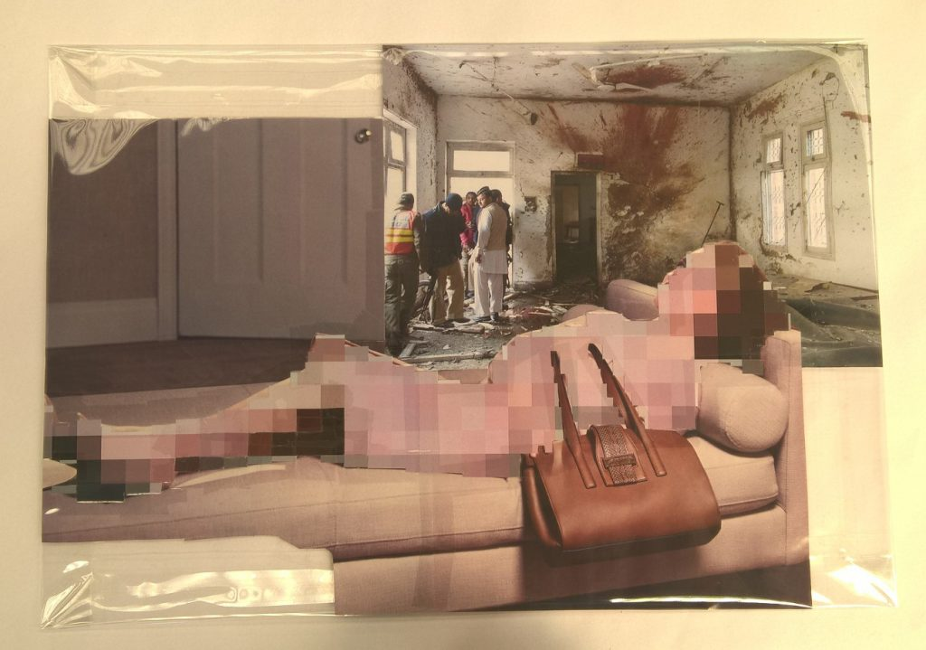 Thomas Hirschhorn, Pixel-Collage nº51, 2016, prints, tape, transparent sheet, 33,5 x 48 cmunique
