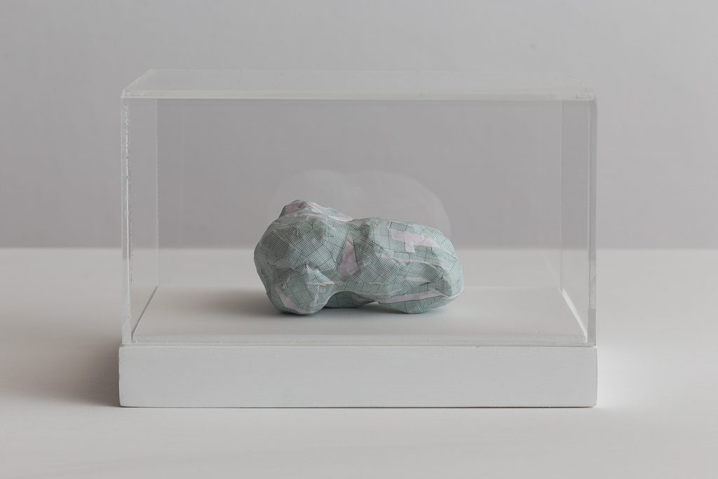 Shilpa Gupta, Untitled III, 2016, 2016, graph paper in plexiglass vitrine, 20 x 29 x 17 cm, unique