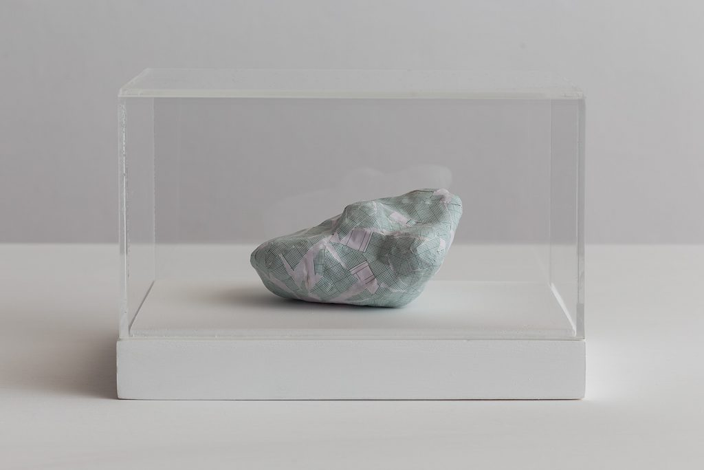 Shilpa Gupta, Untitled IV, 2016, graph paper in plexiglass vitrine, 20 x 29 x 17 cm, unique
