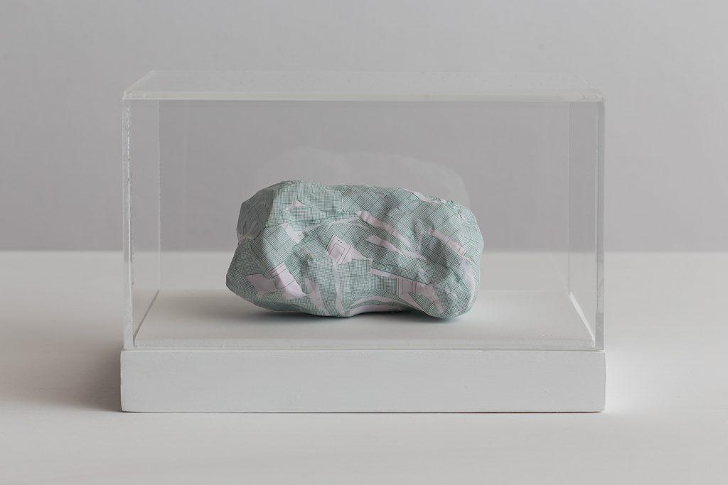 Shilpa Gupta, Untitled VIII, 2016, 20x29x17cm, graph paper in plexiglass vitrine, unique