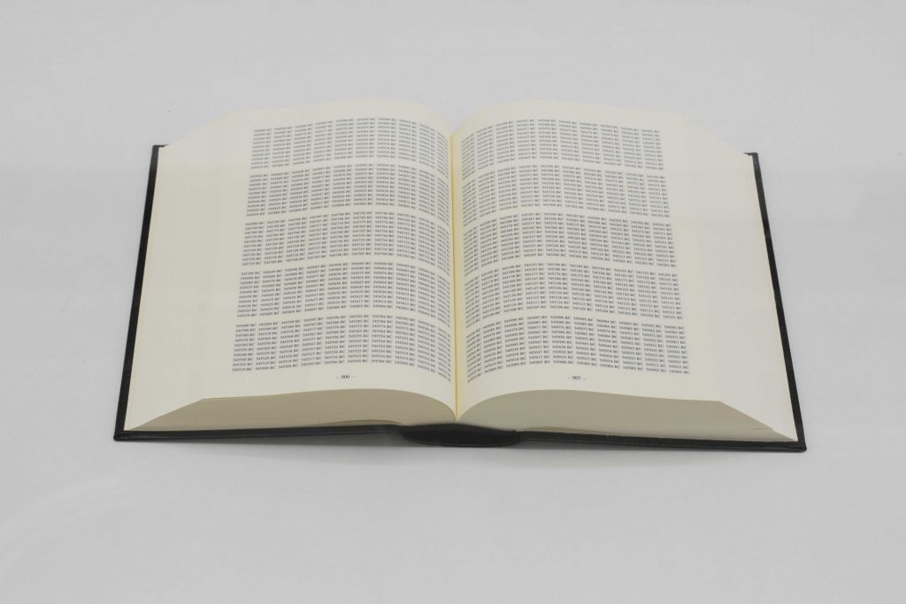 On Kawara, One Million Years Past-for all those who have lived abd died; Future- for the last one, 1999, two volumes on ivory paper, black leather suitcase, silver/gold embossing, (2x) 14.4 x 10.5 cm, limited edition of 570