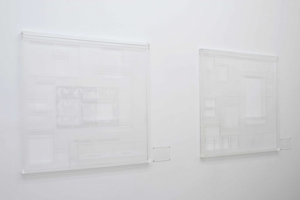 Ryan Gander, Associate Ghost Template #6 & #7, 2012, perspex, acrylglass, 125 x 125 x 4.8 cm, unique + 1AP