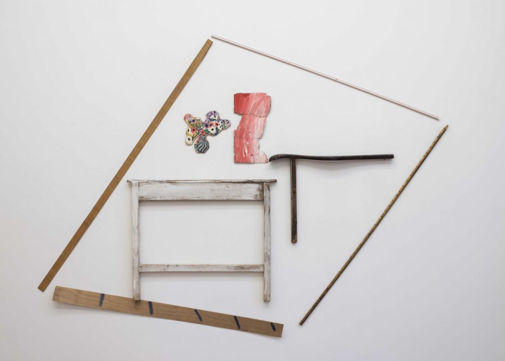 Yudith Levin, A room with a table, 1979, acrylic on plywood, laths, reproduction, 240 x 277 cm, unique