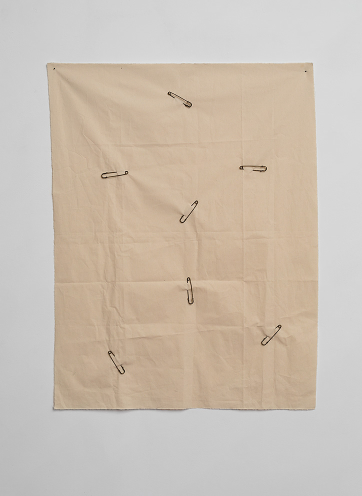 Etti Abergel, 7 safety pins for Georges Perec, 2018, 129 x 99 cm, safety pins, canvas, unique