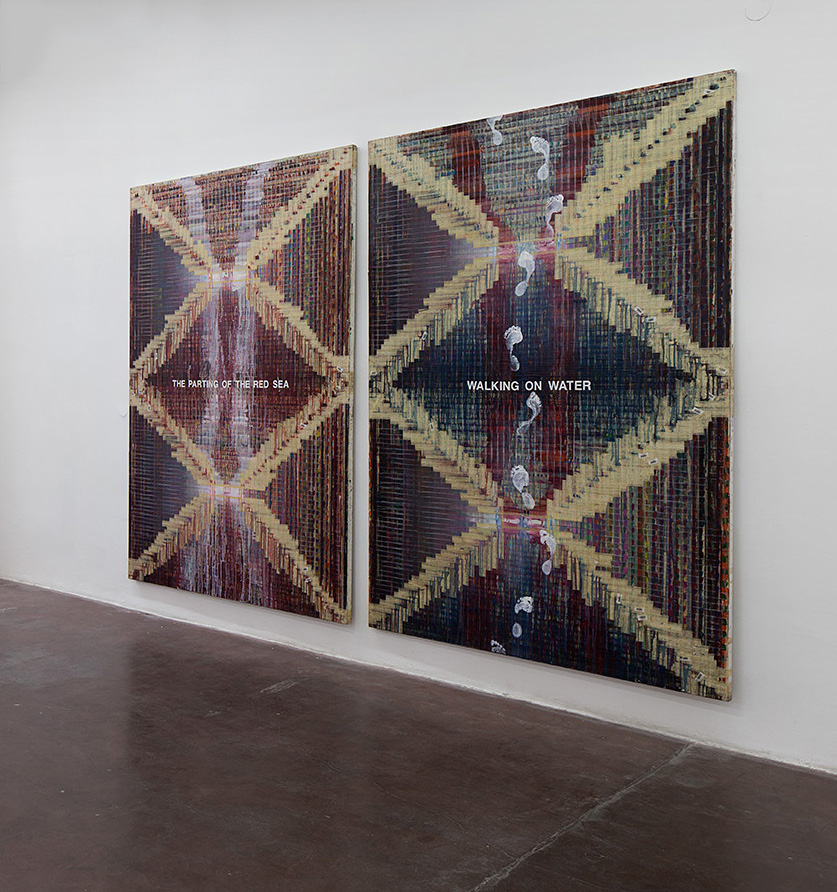 Michal Naaman, The parting of the Red Sea and Walking on Water, 2007, diptych, oil and masking tape on canvas, 220 x 170 cm (each), unique