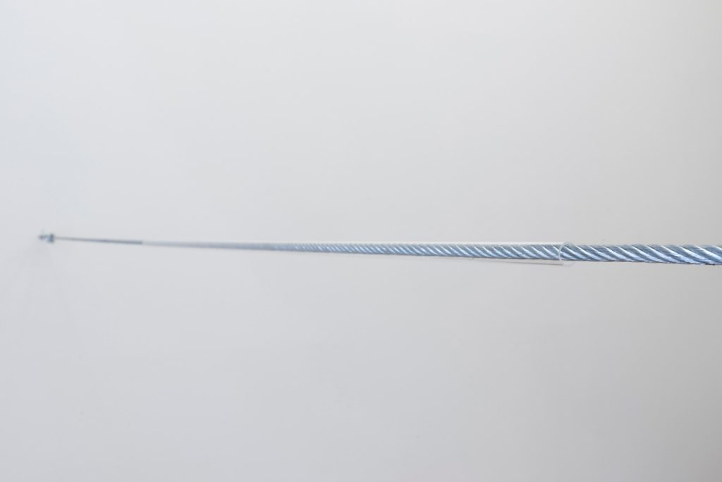 Miroslaw Balka, 510 x 1,2 x 1,2, 2018, steel rope, glass tube, 510 x 1,2 x 1,2 cm, unique