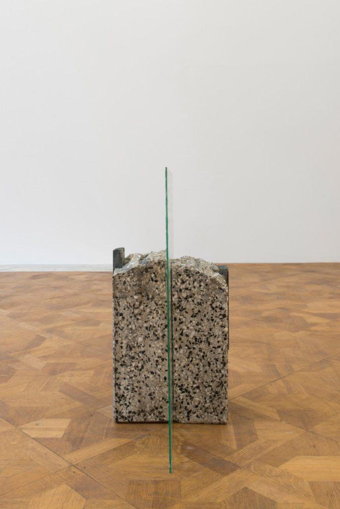 Miroslaw Balka, 60 x 60 x 27, 2018, terrazzo, granit, glass, 60 x 60 x 27 cm, unique