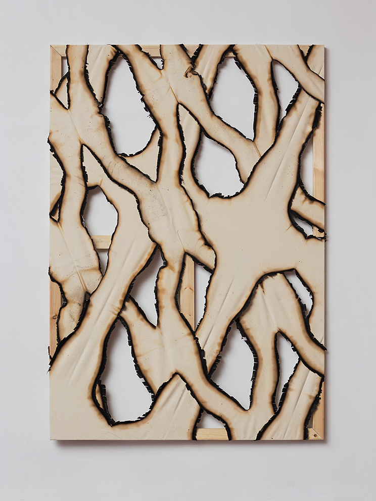 Ariel Schlesinger, Untitled (Burnt Canvas 7), 2016, burnt canvas, 200 x 140 cm, unique