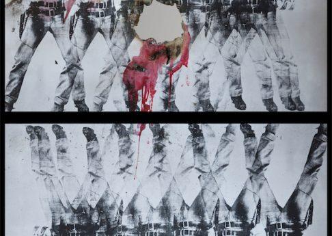 Douglas Gordon, Self Portrait of You + Me (Elvis eight by two), 2017, burned print, smoke and mirror, 145 x 123 x 5 cm, unique